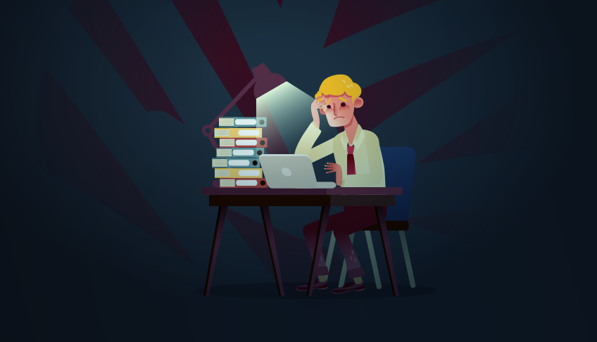 Illustration showing someone who has stacks of work to complete (and probably not enough time to do it)