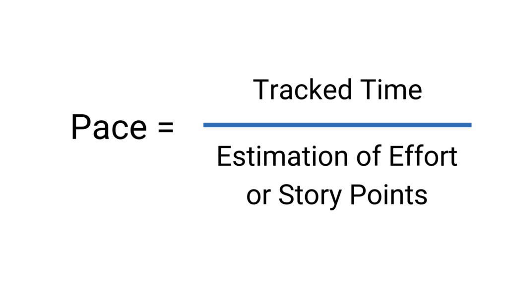 Pace calculation: Tracked time divided by estimation of effort.
