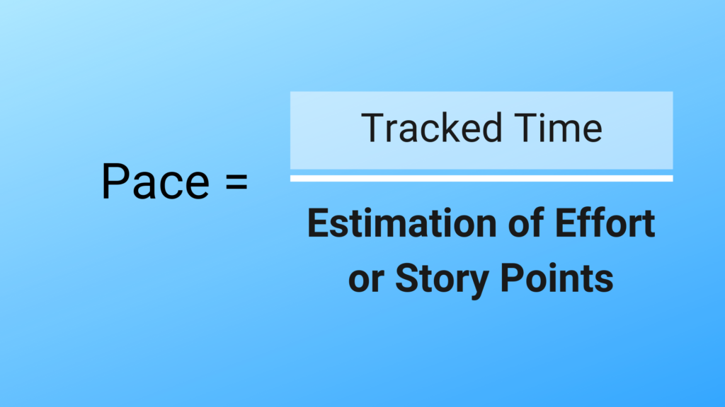 The Tracked Time part of the pace equation is the literal time that it takes to complete the work, regardless of the original estimate.