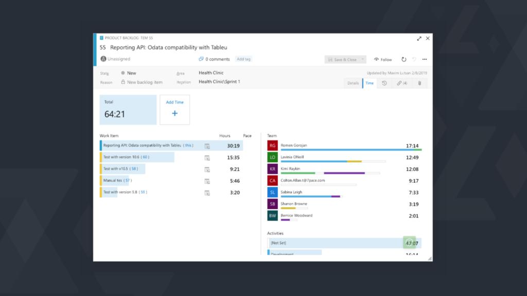 Azure DevOps timekeeping screen.